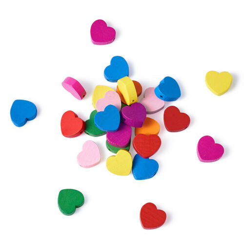 50 x Lead Free Dyed Mixed Color Heart Wood Beads Children/'s Day Jewelry Making