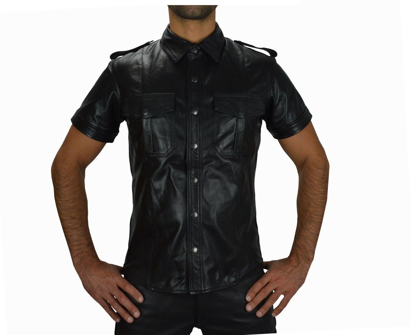 665 Echtleder Police Style Lederhemd,Leder Hemd,leather Shirt,Chemise en Cuir     | Günstige Bestellung