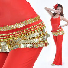 New Belly Dance Costume Hip Scarf Belt velvet & 3 layers Golden Coins 10 Colors