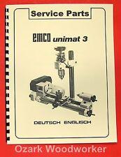 EMCO Unimat 3 Mill Metal Lathe Parts Manual 0302