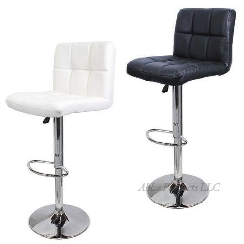 2 Tall White Black Hydraulic Adjustable Bar Stool Modern Style PU Leather Chair