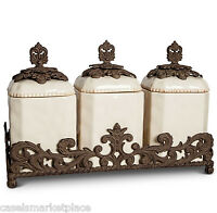 The GG Collection 3 Piece Textured Ceramic Canisters w Base-Cream Kitchen