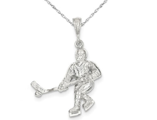 Sterling Silver Hockey Player Pendant Necklace with Chain