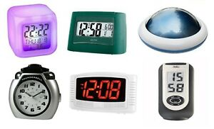 Bedside Alarm Clock Analogue Digital Touch Colour Changing Talking Home Office
