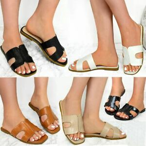 Details about Womens Ladies Flat Slip On Mules Open Toe Sandals Comfy Summer Shoes Casual Size