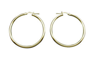 9ct-Gold-Plated-Small-to-Large-2mm-Hoop-Sleeper-Earrings-Singles-or-Pairs