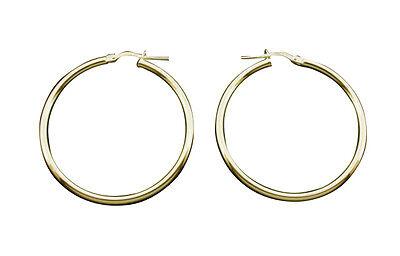 9ct Gold Medium Large 19mm PLAIN HINGED HOOP SLEEPER EARRINGS PAIR B/'Day GIFTBOX