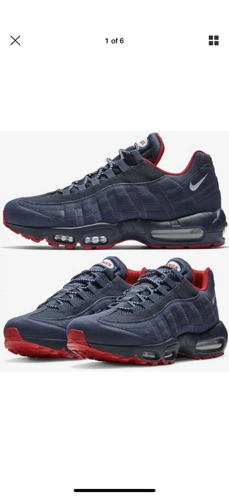 NIKE AIR MAX 95 PREM Sz 10.5 NAVY blueE - RED(BV1255-400)1 90 97 tn plus vapormax