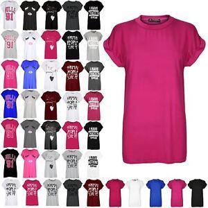 3b9a265b96 Ladies Printed Turn Up Cap Sleeve Tshirt Womens Round Neck Tee Top T ...