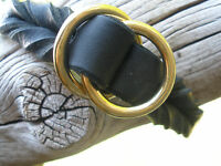 "BLACK LATIGO LEATHER 3/4"" X 14.75"" DOG SLIP/CHOKE COLLAR  SOLID BRASS RINGS"