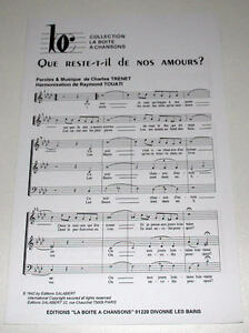Rare partition sheet music CHARLES TRENET : Que Reste il de nos Amours ? - France - Type: Partition Genre musical: Chanson, Variété franaise Instrument: Chant, Piano Etat: Occasion - France