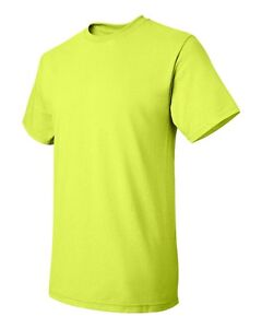 12 New Wholesale Hanes Tagless 5250 Safety Green Adult T