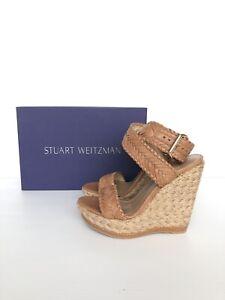 STUART-WEITZMAN-Womens-039-Elixir-039-Brown-Leather-Wedge-Sandals-Sz-5-N-231053