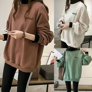 Women-Fake-Two-Piece-Tops-Hoodies-Pullover-Sweatshirt-Long-Sleeve-Blouse-LIU9