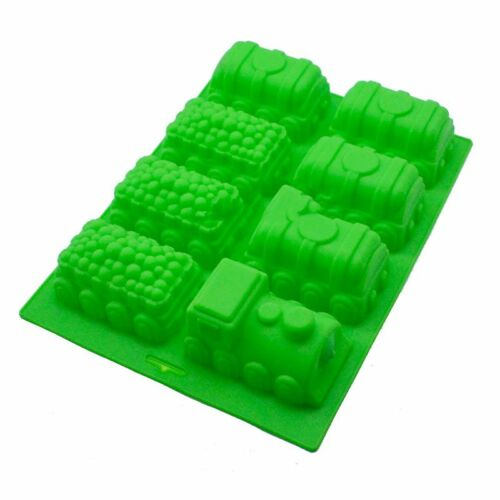 3D Silicone 8 Cavity Train Cake Soap Mould Jelly Candy Cube Tray DIY Mold Tool