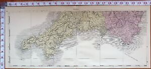 Lands End England Map.1883 Map England South West Cornwall Falmouth Penzance Lands End