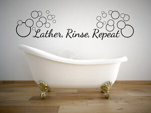 Superieur Image Is Loading Lather Rinse Repeat Bathroom Quote Vinyl Wall Decal