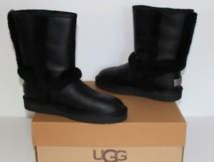 64fa361a4a3 Details about UGG Australia 1008825 BK 5 Carter Short Leather Women  Sheepskin Boot Black 5 NIB