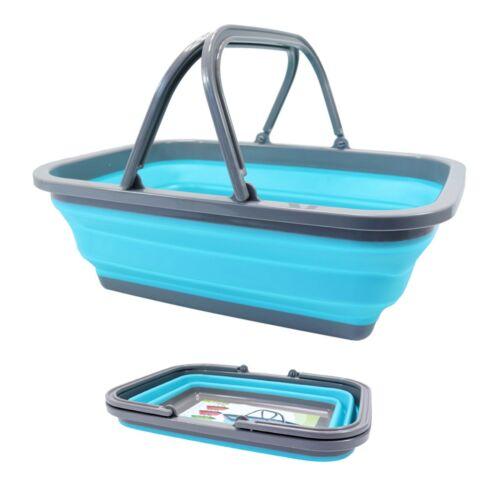 Einkaufskorb Faltbar Waschschüssel Silikon Griffe Campingschüssel Tragekorb Korb