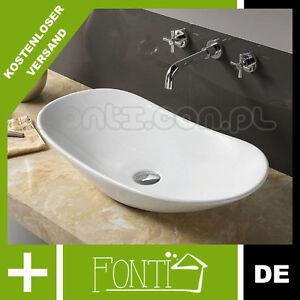 keramik oval aufsatz waschbecken royal 2 gr sse 15 cm 60 70 cm rea ebay. Black Bedroom Furniture Sets. Home Design Ideas