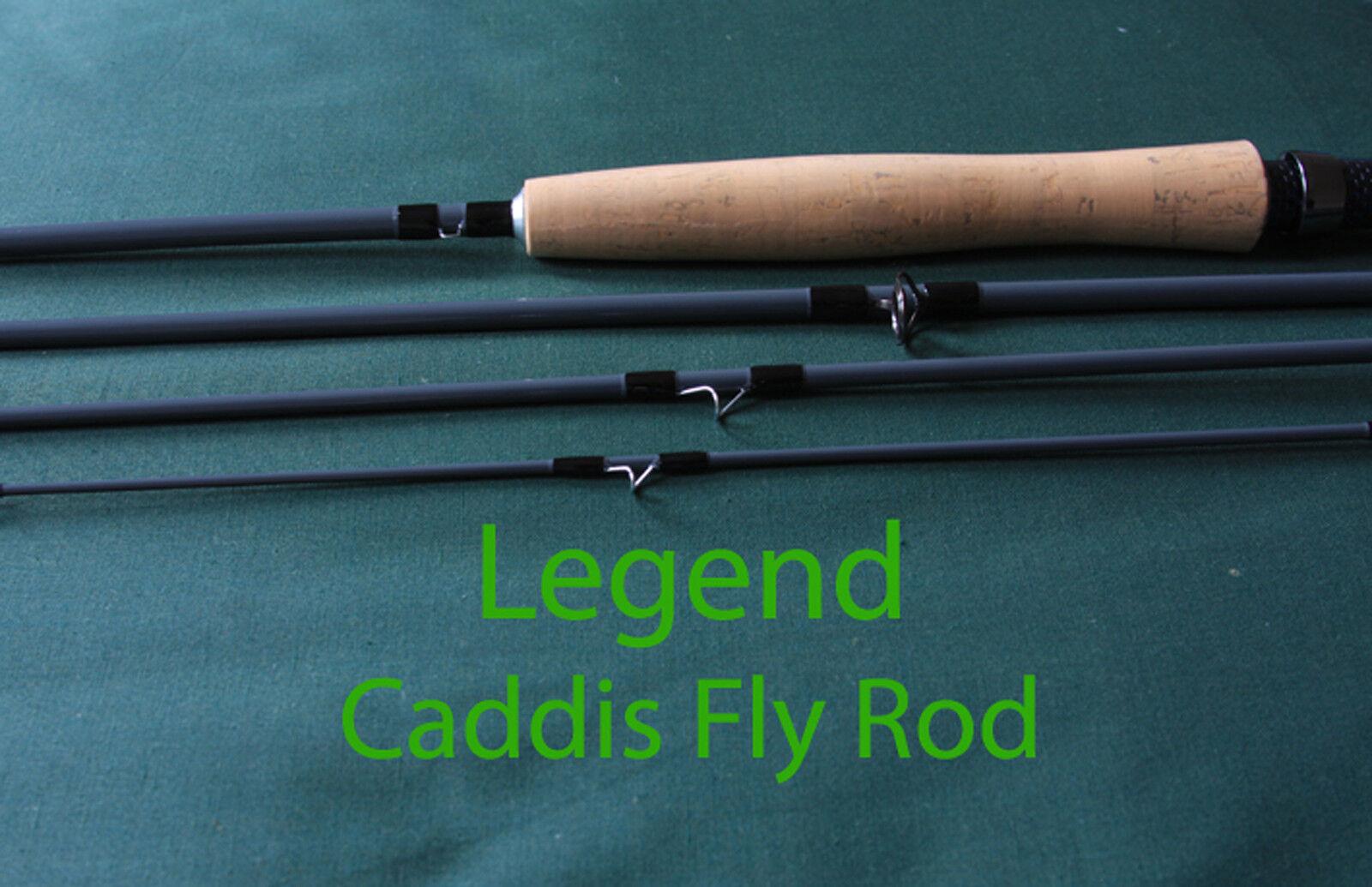 FLY asta legenda Caddis 8 & 9ft 4 barre di sezione FLYborsa TUBE & Garanzia a Vita