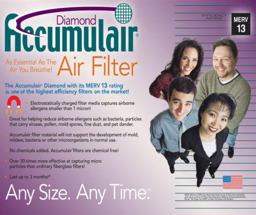 6 Pack Accumulair MERV 11 /& 13 Home House plissés Filtres à Air 4 Allergy relief