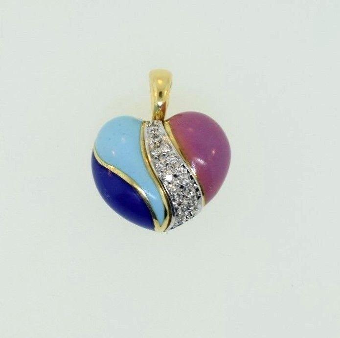 18k Yellow gold Enamel Puffed Heart Pendant Diamonds .30ct H VS Made in
