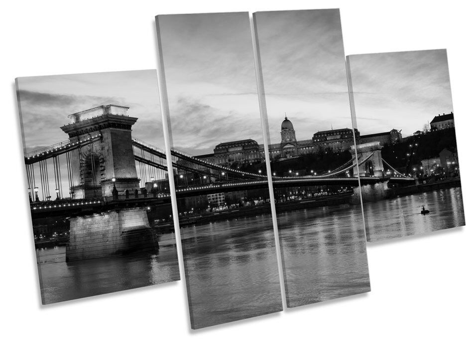 Chain Bridge Budapest Skyline B&W CANVAS WALL ART MULTI Panel Print Picture