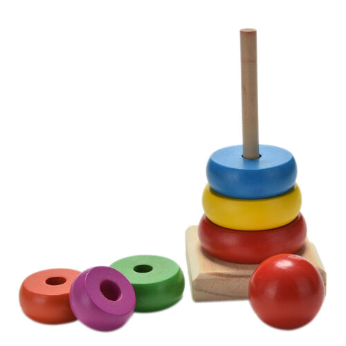 1x Rainbow Tower Ring Wooden Stacking Stack Up Kid Baby Educational Toy EHFUK
