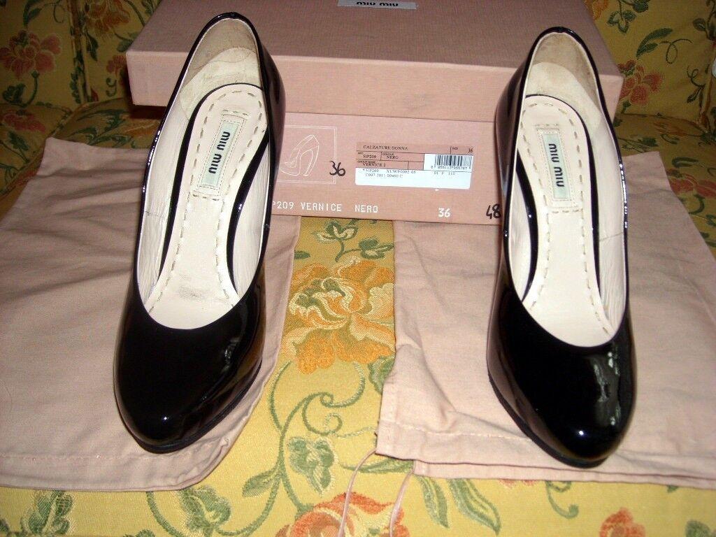 Schuhe Damenschuhe Miu Miu Vernice Nera N.36 tacco 11cm ottimo stato