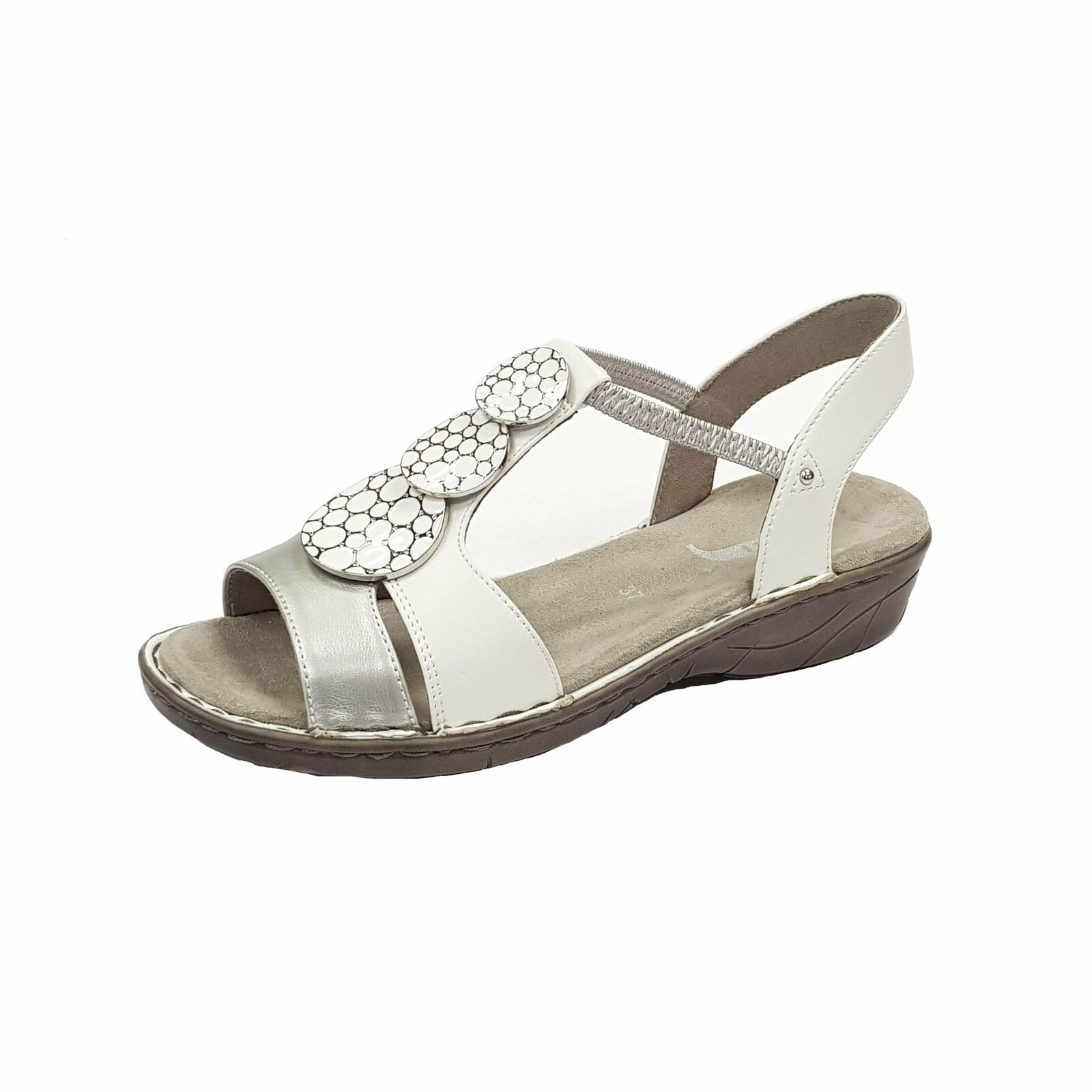 Jenny 57287-73 White   Metallic Sandal with Elasticated Straps