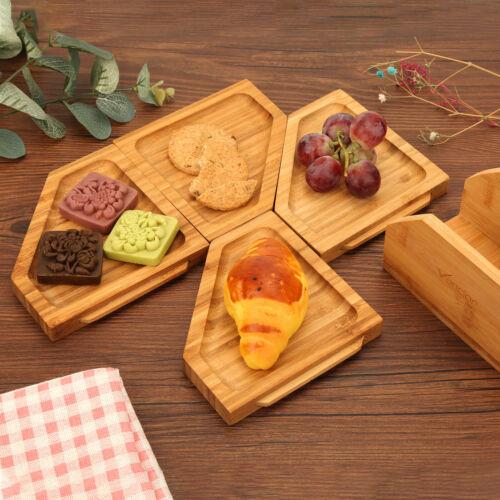 Vencier Serving Board 4 Piece Set Wooden with Stand Jigsaw Bamboo Tapas Platter