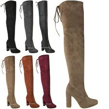 b1ea0519917 item 4 WOMENS LADIES THIGH HIGH BOOTS OVER THE KNEE PARTY STRETCH BLOCK MID  HEEL SIZE -WOMENS LADIES THIGH HIGH BOOTS OVER THE KNEE PARTY STRETCH BLOCK  MID ...