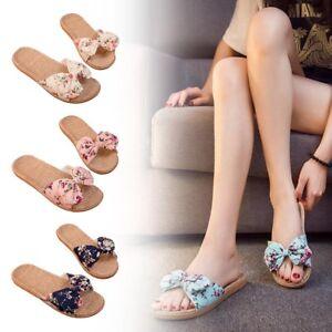 347365b98 1 Pair Women Girls Summer Sandals Linen Slippers with Bow Tie Beach ...