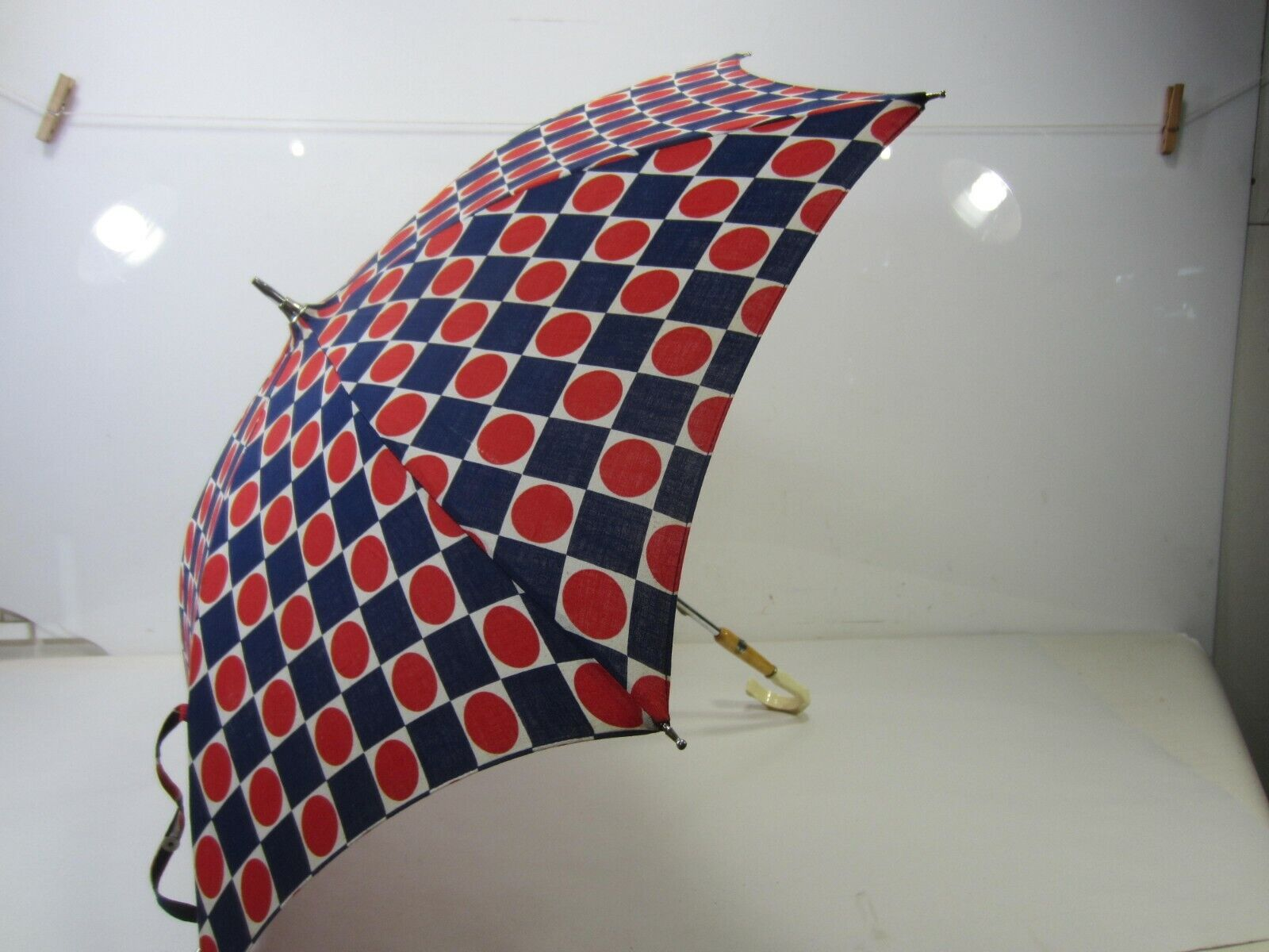 Vintage Made in Italy Blue & Red Polka Dot Cloth Parasol
