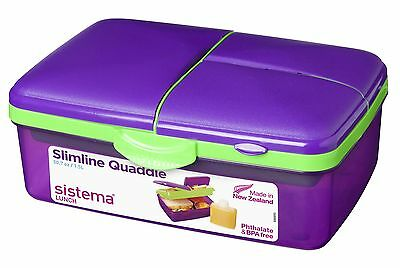 Sistema Purple Quaddie 4 Compartment Lunch Box 1.5 Ltr BPA Free