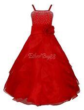 #8 Red Kids Flower Girls Organza Tutu Princess Bridesmaid Wedding Birthday Party