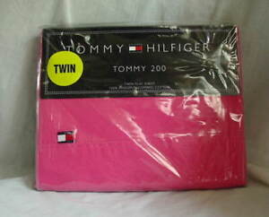 Tommy-Hilfiger-TOMMY-200-Twin-Size-Cotton-Hot-PINK-Bed-Sheet-NEW-NWT