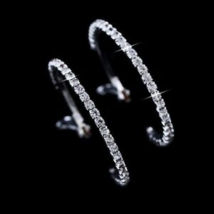 Large-Diamond-Alternatives-Hoop-Earrings-14k-White-Gold-over-Silver-Base-60mm