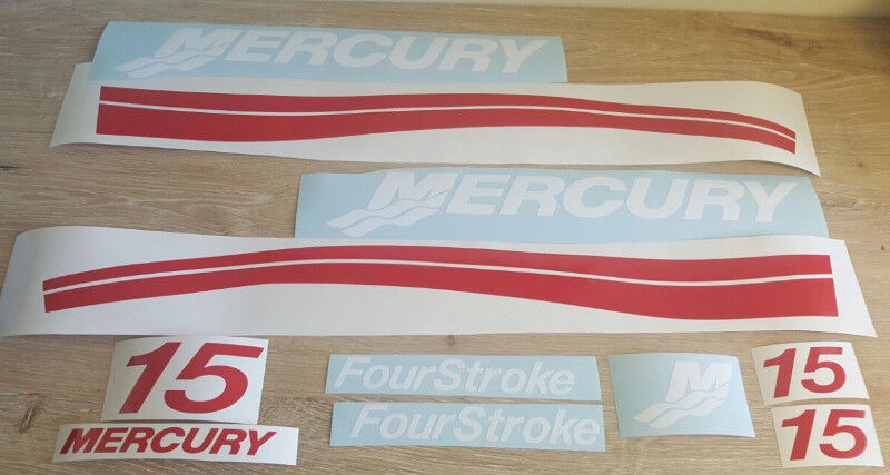 Mercury 15HP outboard motor cowl stickers graphics decal kit