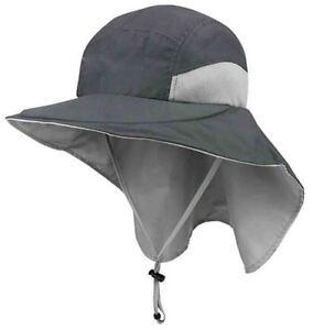 b17d9e399 Details about Juniper Outdoor Microfiber Wide Brim Flap Cap Fishing Hat  Charcoal Gray