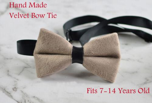 Teenage Boy Kids Youth Mink Pavilion Beige Velvet Bowtie Bow Tie 7-14 Years Old
