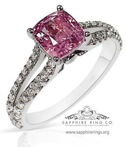 Certified-18KT-W-Gold-1-54-tcw-Pink-Natural-Cushion-Cut-Sapphire-amp-Diamond-Ring