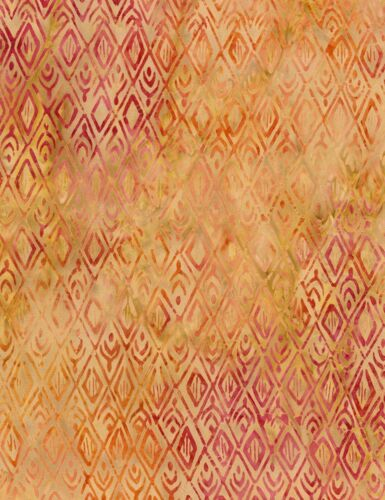 Batik Fabric Timeless Treasures YARD Tonga Orange /& Tan Diamonds B4177