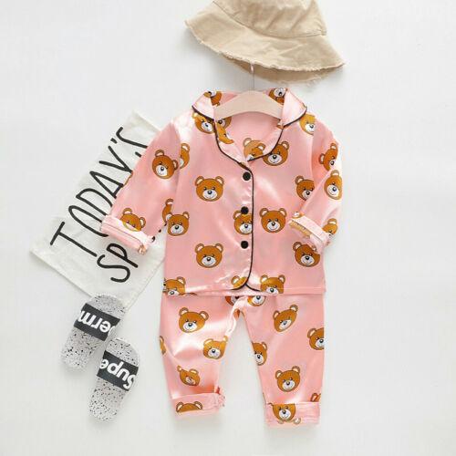 Toddler Unisex Baby Boys Girls Cartoon Bear Tops+Pants Pajamas Sleepwear Outfits