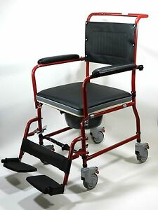 Commode Wheelchair Mobile Bedside Toilet Shower Chair All In One Full Funct