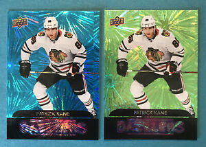 Patrick-Kane-Lot-X2-2020-21-Upper-Deck-Series-1-Dazzlers-Inserts-Blackhawks-DZ11