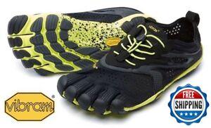 ???? Vibram V-run Chaussures Fivefingers Noir Jaune Homme Tailles 40-47 V Run-neuf