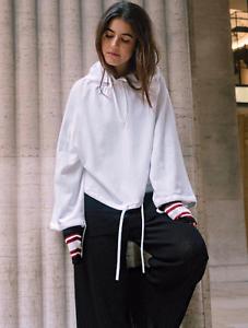 H&M STUDIO Linen Blend White Hooded Top Sweater Jumper Hoodie Top