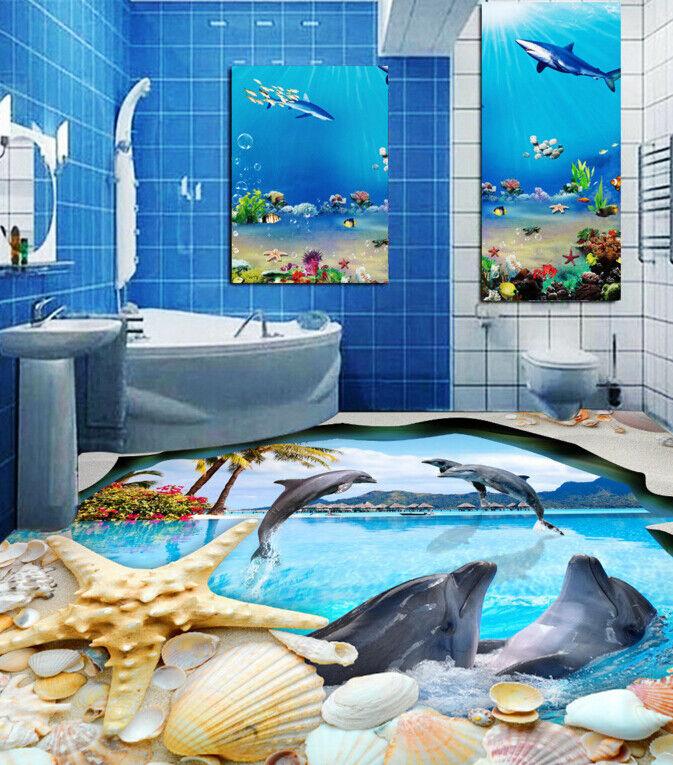3D Dolphins Trees 642 Floor WallPaper Murals Wall Print 5D AJ WALLPAPER UK Lemon